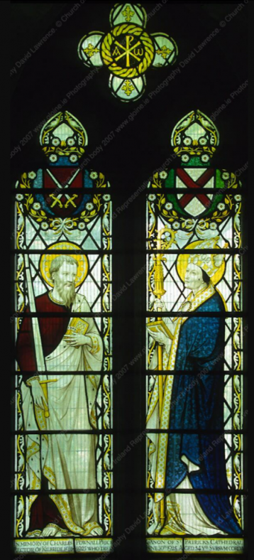 Fig. 7 Stain glass St Brigid Church Kilbride Bray. St Patrick depicted to the right of the image. | https://www.gloine.ie/
