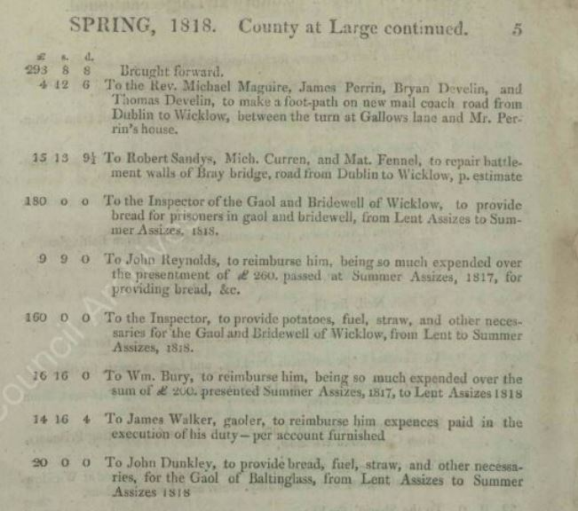 Detail from Wicklow Grand Jury Abstracts of Presentments Book 1818 (WLAA/GJ/AP) | Image: Wicklow County Archives Service