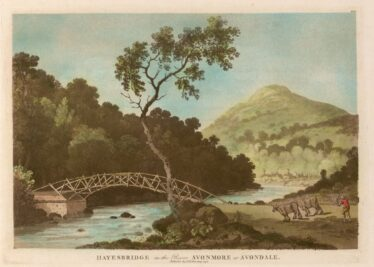 Hayesbridge on the river Avonmore at Avondale, by Jonathan Fisher (1795).  Norton Collection. | Image courtesy of Special Collections and Archives,  Glucksman Library. Copyright of the University of Limerick.