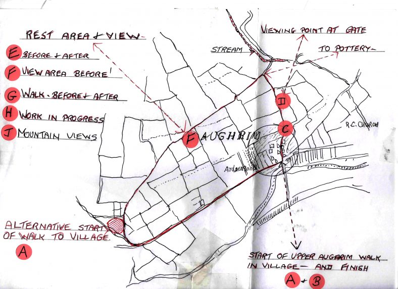 Hand-drawn Map of PURE Mile | Aughrim Tidy Towns Limited