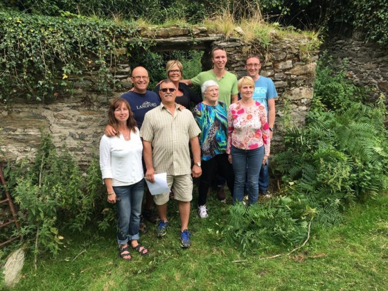 Lawrence descendants visit the ruins of John and Martha's 1848 stone cottage.
