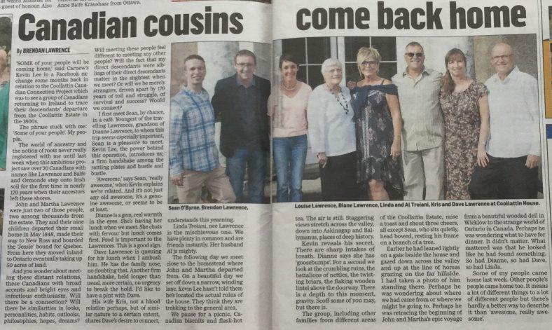 Newspaper article written by Brendan Lawrence