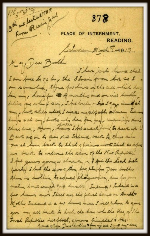 Letter From Peter Paul Galligan to his Brother | Wicklow Co. Co.