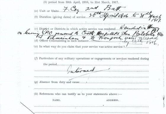 Military Service (1916-1923) Pensions Collection - Online launch of the latest release of material