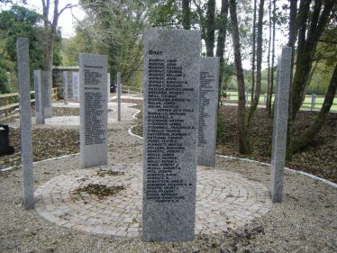 Section showing Francis Savage-Armstrong's name, Wicklow WW1 Memorial Park, Woodenbridge   Photo taken by the author, 19 Oct 2014