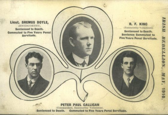 A  Postcard Of Three  Enniscorthy Volunteers