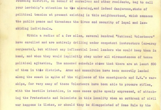 Letter from the Unionists of Greystones to the Viscount of Powercourt