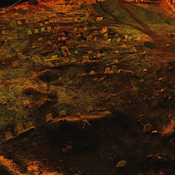 Laser scan of Preban Cemetery, Co. Wicklow showing location of church