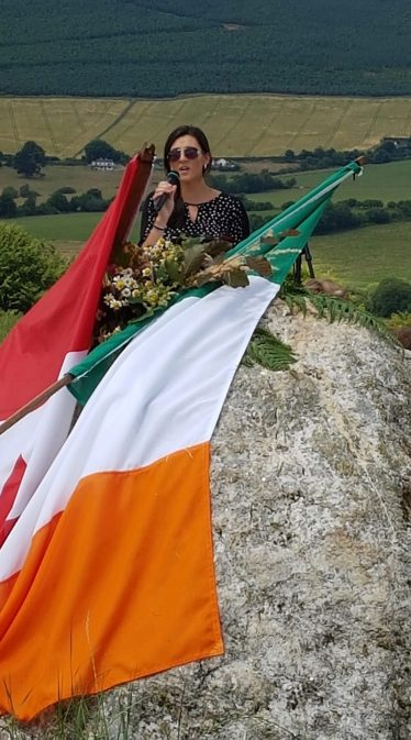 AnnMarie Connolly-Keogh giving a rendition of the famine song 'Neidin' at the Mass Rock at Mount Pleasant   Kevin Lee 2018
