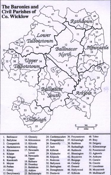 The baronies and civil parishes of Wicklow