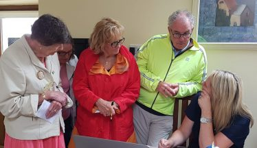 Canadian visitors, Mary Campeau, Ann Kraushaar and John Balfe receiving genealogical assistance from Catherine Wright of Wicklow County Council Archives & Genealogy service   Kevin Lee 2018