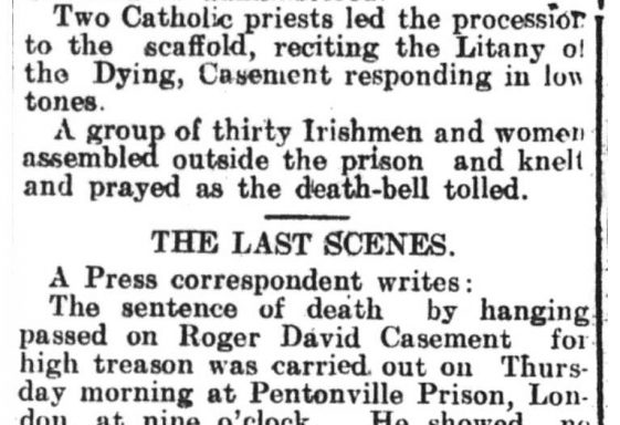 1916 Wicklow People Reports Execution of Roger Casement