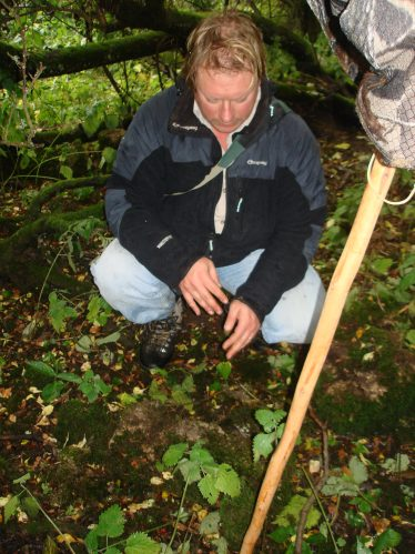 Chris Corlett - Archaeologist examining site | Roundwood Tidy Towns
