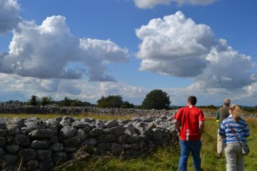 Visitors on a guided walk of Rathgall organised by the local community for Heritage week 2011   D. Burns