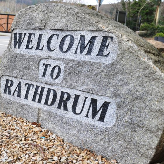 Stone 'Welcome' sign | Rathdrum Tidy Towns