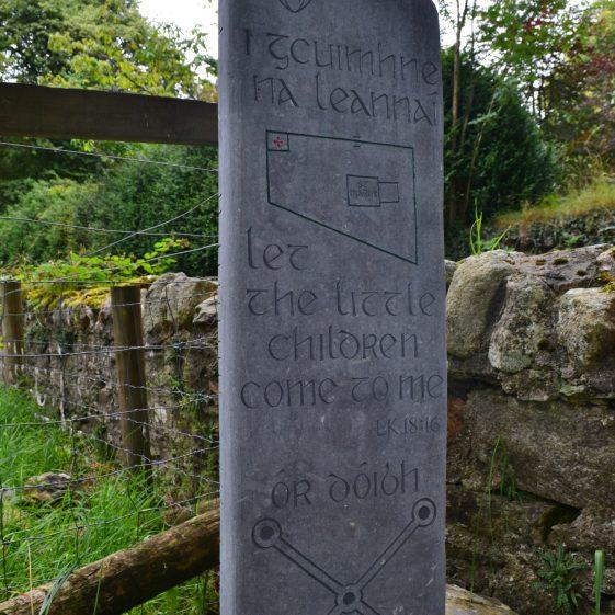 Commemoration Stone near Entrance to St. Mary's Church, Glendalough   D. Burns