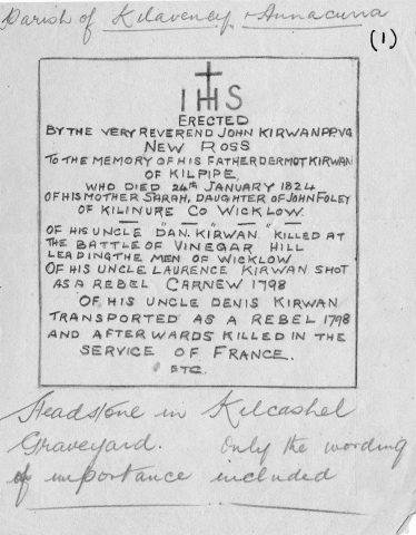 Kirwan's Headstone in Kilcashel Graveyard | ITA 1943