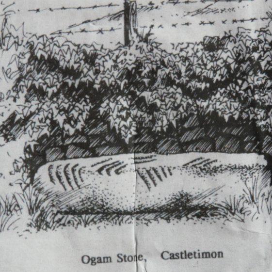 Old Drawing of Catletimon Ogham Stone | Castletimon National School
