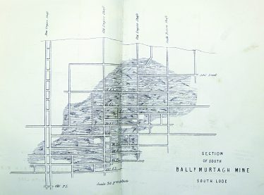 Section of South Ballymurtagh Mine South Lode | A Brief Description of the Ballymurtagh Mine by Edward Barnes Director 1864