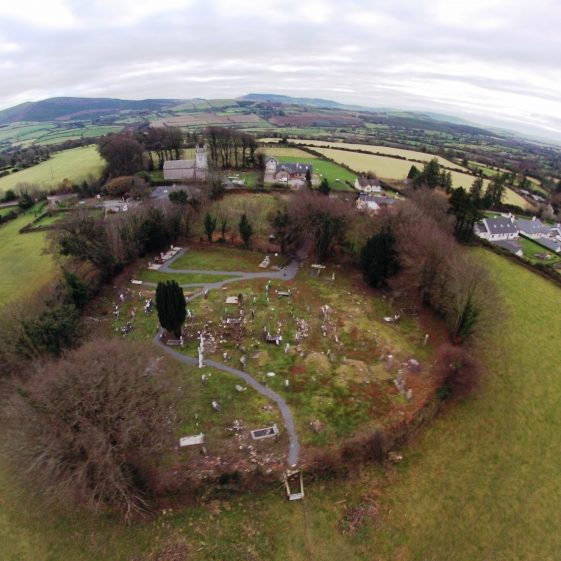 Aerial view of Preban Cemetery and enclosing ditch, Co. Wicklow.