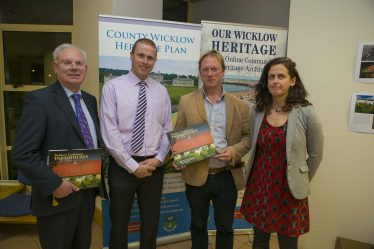 Wicklow County Council Chief Executive Eddie Sheehy, Cllr Chris Fox, Chris Corlett (author) and Deirdre Burns, Heritage Officer at the book launch in county Buildings | M. Kelly
