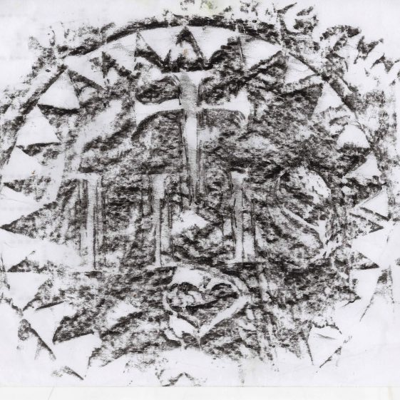 Charcoal Rubbing from Gravestone IHS in Circle | Castletimon National School