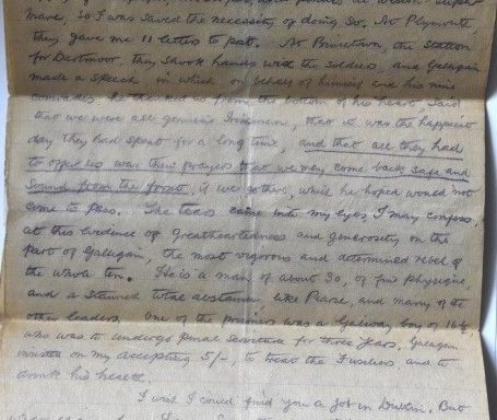 Letter Transcript Describing the Transport of Prisoners to Dartmoor Prison after the 1916 Rising