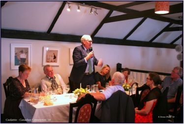 His Excellency, Mr Kevin Vickers, Canadian Ambassador to Ireland, addressing the visitors at a Victorian banquet in Carnew.   E. Doran 2018
