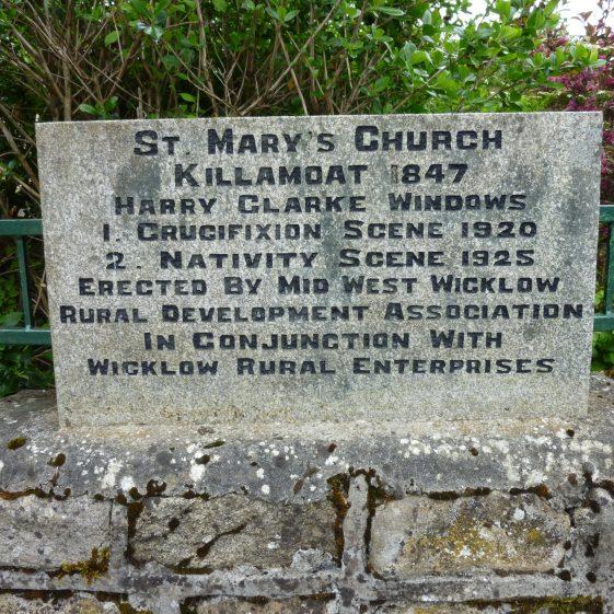 Killamoat Church - Harry Clarke plaque   Rathdangan Community Council