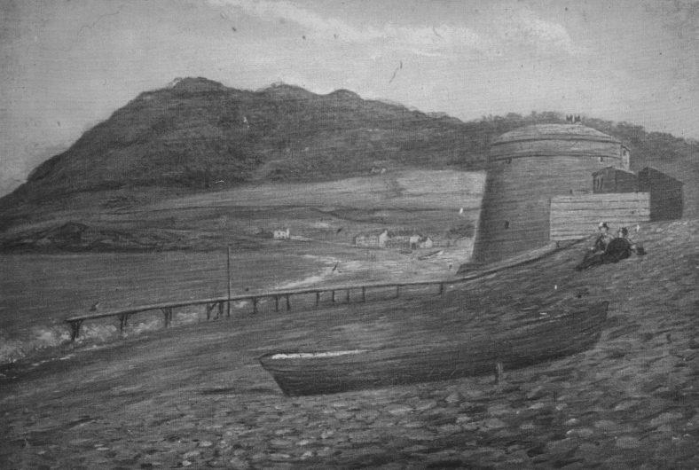 Martello tower before demolition c.1880 and boat slipway