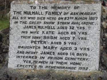 Memorial on Church for Mulhall family - died in 1867 - buried in Preban cemetery | The Askanagap Community Development Association
