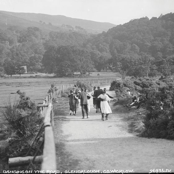 Dancing on the road, Glendalough, Co. Wicklow   National Library of Ireland