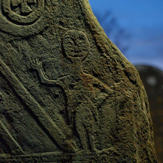 Detail of late 18th century slate 'Mcmanas' headstone Preban cemetery, Co. Wicklow