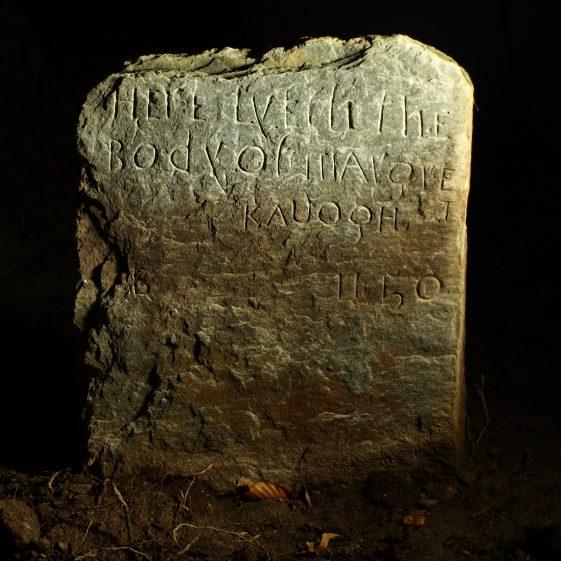 Detail of 'Margret Kauogh' headstone 1750, Preban cemetery, Co. Wicklow