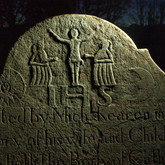 Detail of 'Kearen' family headstone late 18th century, Preban cemetery, Co. Wicklow