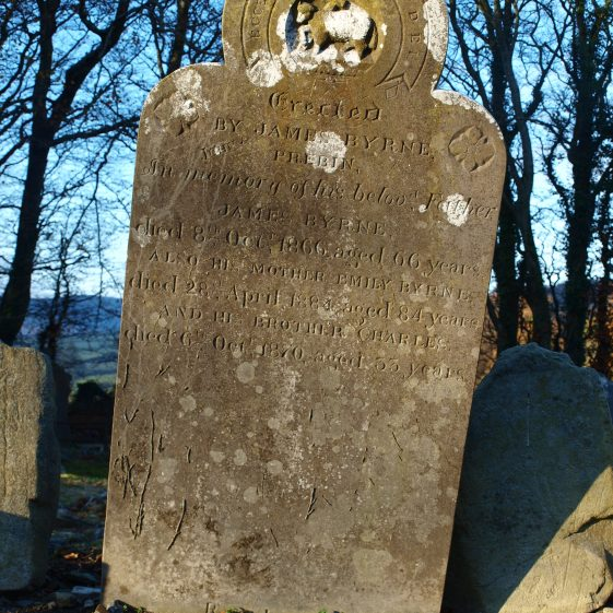 detail of Byrne headstone late 19th century, Preban cemetery, Co. Wicklow