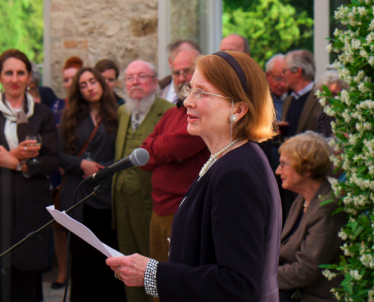 Patrica Butler, co- author speaks in the Orangery at Kilruddery at the launch on 4th June 2014