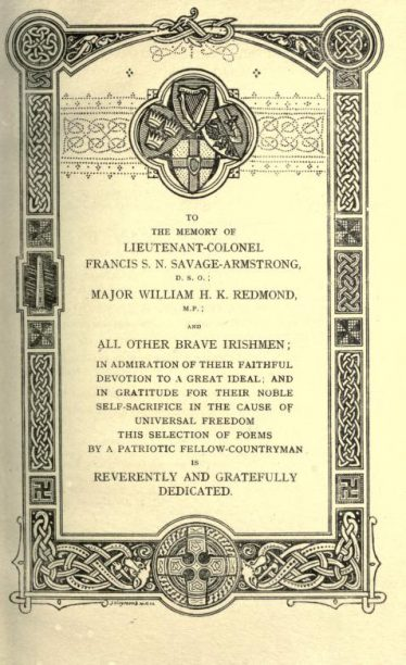 Dedication page of collection of George Francis Savage-Armstrong's poems   Poems: national and international (1917)