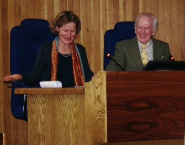 Éamon de Buitléar enjoys a light moment with Karin Dubsky at the launch of World Wetlands Day on Feb. 2nd 2012 in Wicklow