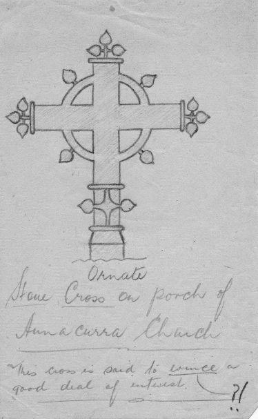 Stone Cross on porch of Annacurra Church | ITA 1943