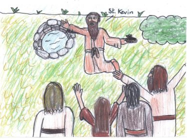 St Kevin at his well   By The Pupils Of Brittas Bay School 2014