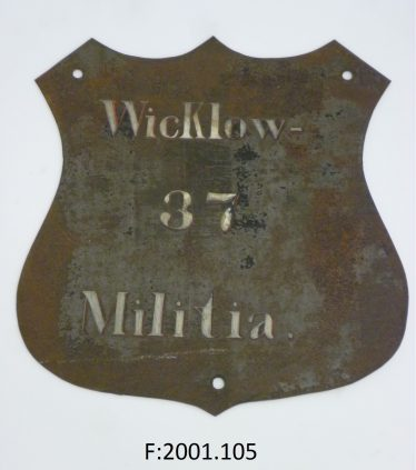 Hand painted name shield of the 37th Wicklow Regiment of Militia | National Museum of Ireland