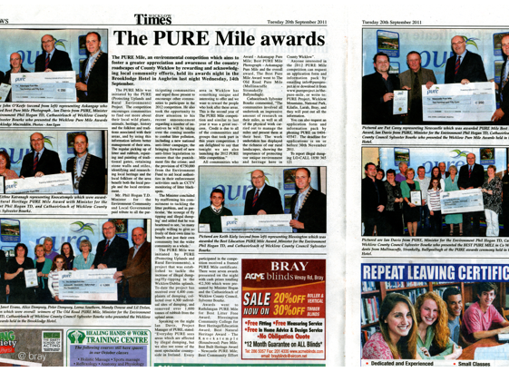 Wicklow Times report of Pure Mile awards   Wicklow Way Group