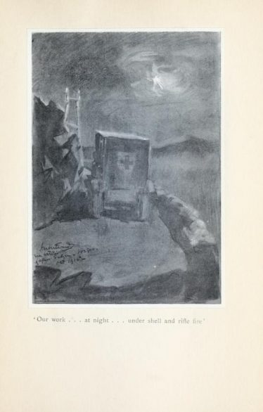 A BAC ambulance under fire. | Herbert Ward, Mr Poilu:notes and sketches with the fighting French (1916)