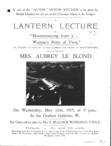 Notice of fundraising lecture given by Lizzie, 1915.