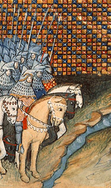 The Earl of Gloucester riding to meet Art Mor Mac Murchada Caomhanach. | Jean Creton's Histoire du roy d'Angleterre Richard ll, British Library Harleian ms 1319, unknown illustrator 15c.