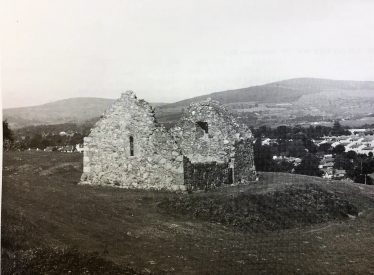 Raheen a Cluig Church before the golf course was built (no longer there). | An Archaeological Inventory of Co. Wicklow Image of Raheen a Cluig Church, before current tree growth. (An Archaeological Inventory of Co. Wicklow) Image by Dr. Eoin Grogan