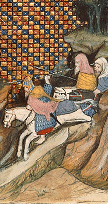 Art Mor Mac Murchada Caomhanach riding to meet the Earl of Gloucester. | Illustration from Jean Creton's Histoire du roy d'Angleterre Richard ll. British Library Harleian ms 1319, unknown illustrator 15c.