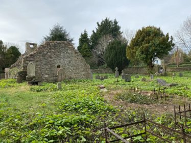 Showing East Wall, West Wall with Bellcote, and South Wall. Also showing entrance to graveyard and some of the graves. | The Medieval Bray Project