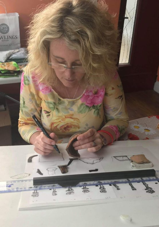 Sharon Wells at work on Excavation Drawings for Raheen a Cluig | The Medieval Bray Project